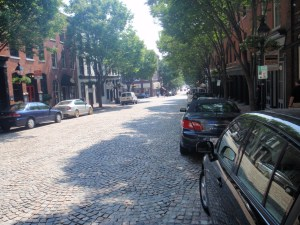 This is an area of downtown known as Shockoe Bottom - still has the old school cobblestone streets....