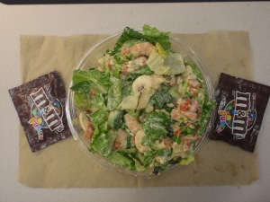 Sloppy (but deelish!) salad pic, told you peeps that homeboy got a lil' crazy w/ the dressing ha