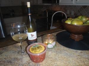 Tom Leonard's fresh salsa (yum!), TJ's Chard/Viognier blend & wait, hey, where'd the chips go?!