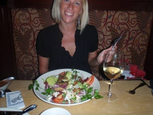 Wine - check.  Salad of yum - check. Crazy knife/fork holding - CHECK!  haha what's up w that?