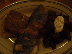 Trout, scalloped taters, beets