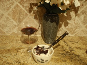 Red wine + ice cream + chocolate = holy yummmm