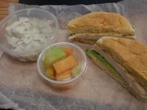 Chicken sammie, tater salad (Ron White anyone?), fruit