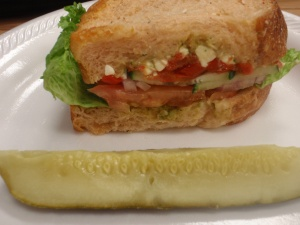 Med Veggie! Cilantro hummus, feta, peppers, tomato, lettuce on tomato/basil bread holy yum!